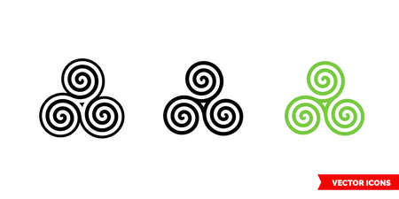 Celtic spiral icon of 3 types. Isolated vector sign symbol.