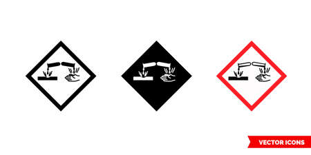 Corrosive hazard icon of 3 types. Isolated vector sign symbol.