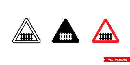 Crossing with gate sign icon of 3 types. Isolated vector sign symbol.