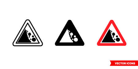 Falling rocks sign icon of 3 types. Isolated vector sign symbol.