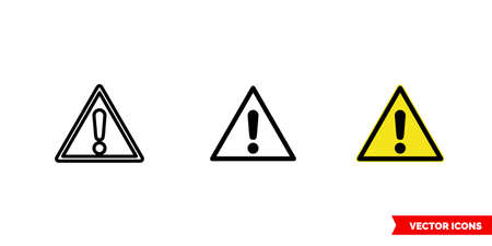 Generic caution icon of 3 types. Isolated vector sign symbol.