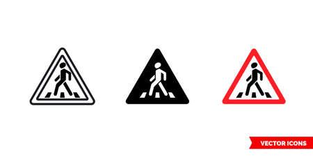 Pedestrian crossing sign icon of 3 types. Isolated vector sign symbol. Illusztráció
