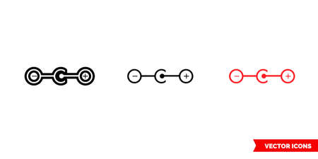 Positive polarity icon of 3 types. Isolated vector sign symbol.