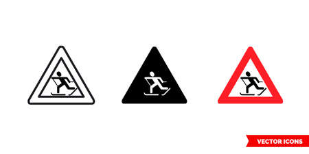 Skiers crossing sign icon of 3 types. Isolated vector sign symbol. Illustration