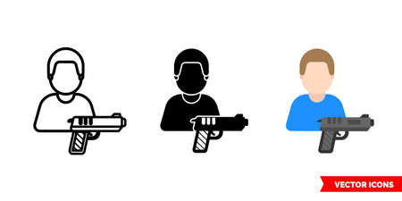 Killer murderer assassin icon of 3 types. Isolated vector sign symbol.
