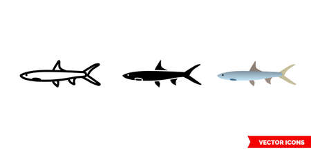 Ladyfish icon of 3 types. Isolated vector sign symbol.