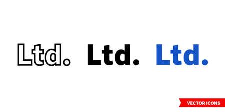 Ltd icon of 3 types. Isolated vector sign symbol.  イラスト・ベクター素材