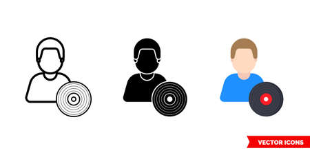 Music composer artist icon of 3 types. Isolated vector sign symbol.