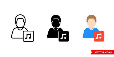 Musician instrumentalist icon of 3 types. Isolated vector sign symbol. Иллюстрация