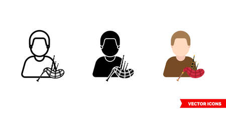 Piper bagpiper icon of 3 types. Isolated vector sign symbol. Illusztráció