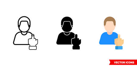 Rude curmudgeon rough icon of 3 types. Isolated sign symbol.