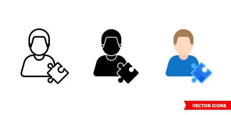 Scholar erudite icon of 3 types. Isolated sign symbol.