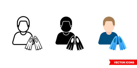 Scuba diver icon of 3 types. Isolated sign symbol.