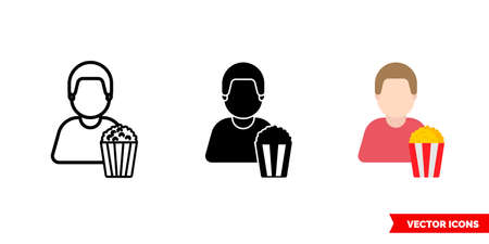 Spectator viewer icon of 3 types. Isolated sign symbol.