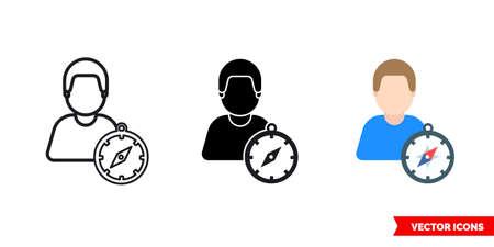 Traveler tourist icon of 3 types. Isolated sign symbol. Illustration