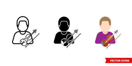 Violinist violin icon of 3 types. Isolated sign symbol. Ilustrace