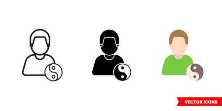 yoga master icon of 3 types. Isolated sign symbol. 矢量图像