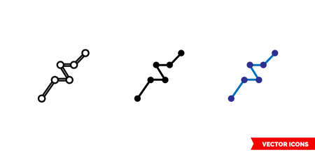 Polyline icon of 3 types. Isolated vector sign symbol.