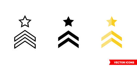 Chevron icon of 3 types color, black and white, outline. Isolated vector sign symbol.  イラスト・ベクター素材