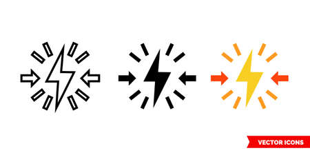 Conflict icon of 3 types color, black and white, outline. Isolated vector sign symbol.