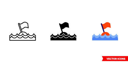 Diving buoy icon of 3 types. Isolated sign symbol.