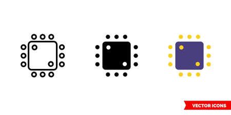 Processor icon of 3 types. Isolated vector sign symbol.