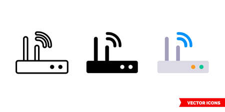 Wifi router icon of 3 types. Isolated vector sign symbol.