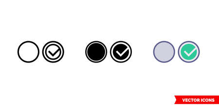 Radio button icon of 3 types. Isolated vector sign symbol.