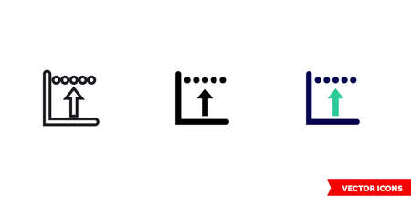 Rising edge icon of 3 types. Isolated vector sign symbol.