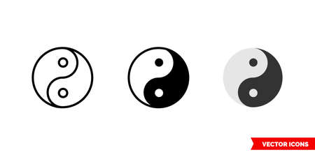 Yin yang icon of 3 types. Isolated vector sign symbol. 矢量图像