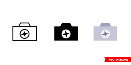 Camera enhance icon of 3 types. Isolated vector sign symbol. Ilustrace