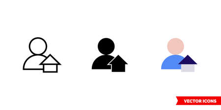 Caretaker icon of 3 types. Isolated vector sign symbol.