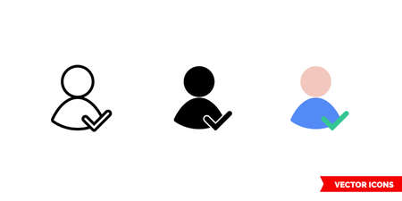 Checked user skin icon of 3 types. Isolated vector sign symbol.