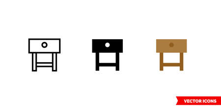 Console table icon of 3 types. Isolated vector sign symbol.