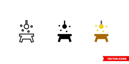 Lining table light icon of 3 types. Isolated vector sign symbol.