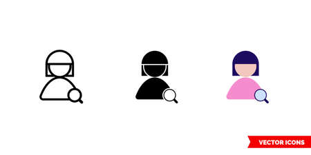 Find user female skin icon of 3 types. Isolated vector sign symbol.