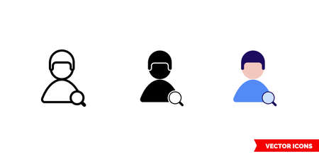 Find user male skin icon of 3 types. Isolated vector sign symbol.