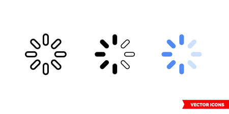 Progress indicator filled icon of 3 types. Isolated vector sign symbol.