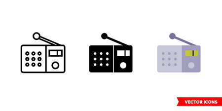 Radio station icon of 3 types. Isolated vector sign symbol.