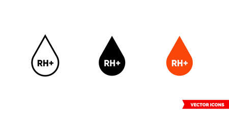 RH plus icon of 3 types. Isolated vector sign symbol.
