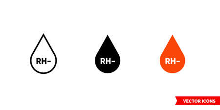 RH- icon of 3 types. Isolated vector sign symbol.