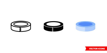 Scotch tape icon of 3 types. Isolated vector sign symbol.
