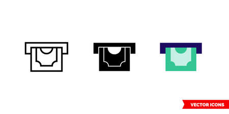 ATM icon of 3 types. Isolated vector sign symbol.