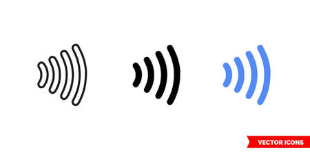 Contactless payment icon of 3 types. Isolated vector sign symbol.