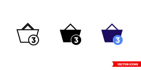 Full shopping basket icon of 3 types. Isolated vector sign symbol. Illusztráció