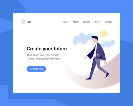 The concept head of the website to launch the company for space, promotion, hosting or other spheres. Landing page template. Isometric vector illustration with a walking man in a suit.