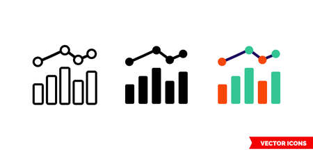 Graph bar chart icon of 3 types. Isolated vector sign symbol. 向量圖像