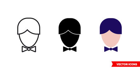 Groom icon of 3 types. Isolated vector sign symbol.