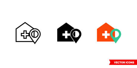Hospital location icon of 3 types. Isolated vector sign symbol.