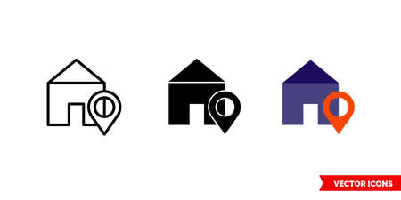 House location icon of 3 types. Isolated vector sign symbol. Illusztráció